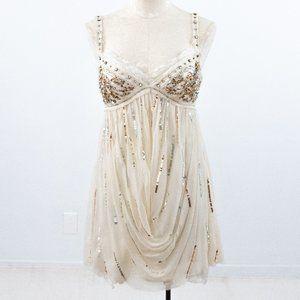 Vintage Y2K S Boho Glam Party Dress White Ivory